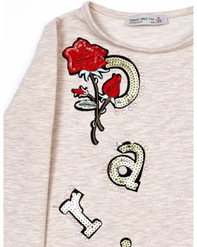 Bluzka z cekinami - beżowa Fashionhunters