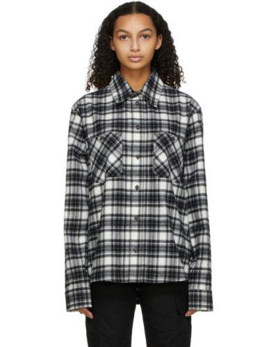 Bawełna z rękawami czarny koszula z mankietami Off-white