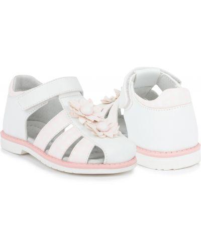 Кожаные белые кожаные босоножки на липучках на каблуке Kidix