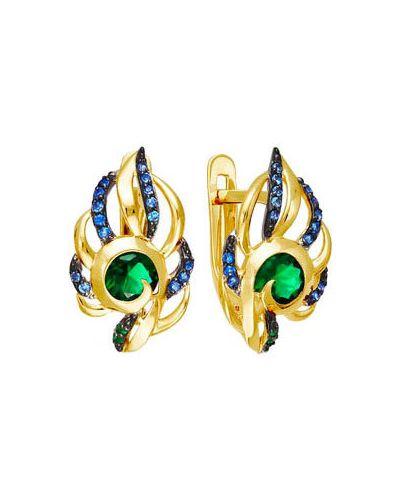 Золотые серьги с фианитом яркие кюз дельта