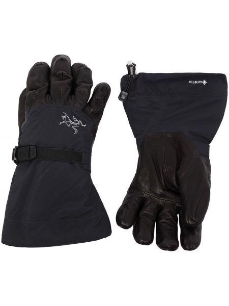 Czarne rękawiczki skorzane z printem Arcteryx