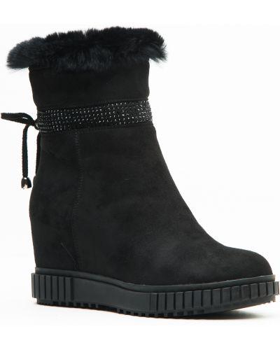 Замшевые сапоги - черные Oeego