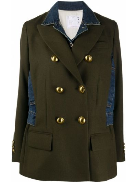 Шерстяное длинное пальто на пуговицах двубортное Sacai