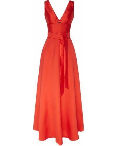 Приталенное красное платье макси с поясом Adolfo Dominguez