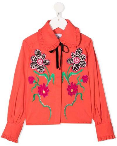 Оранжевая блуза из вискозы с манжетами с вышивкой Raspberry Plum