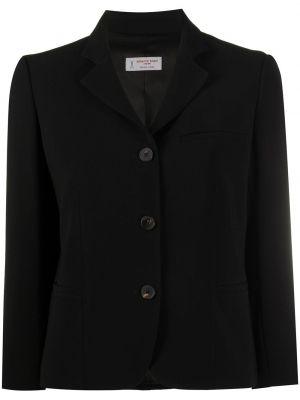 Черный удлиненный пиджак с воротником на пуговицах Alberto Biani