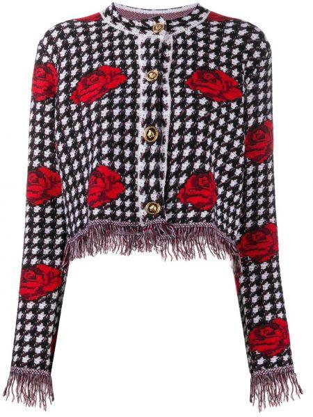 Шерстяной черный удлиненный пиджак на пуговицах Versace
