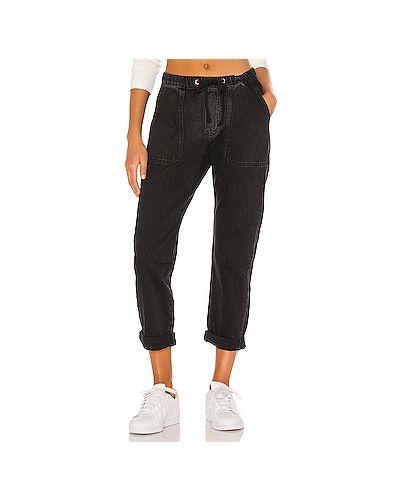 Хлопковые черные джинсы бойфренды на резинке One Teaspoon