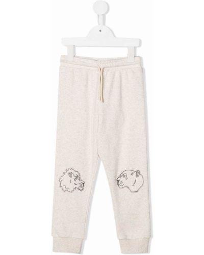 Beżowe spodnie bawełniane Kenzo Kids