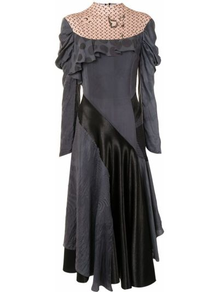 Платье миди в горошек - серое Marine Serre