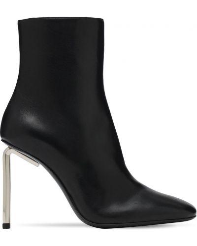 Czarny buty obcasy z prawdziwej skóry na pięcie prążkowany Off-white