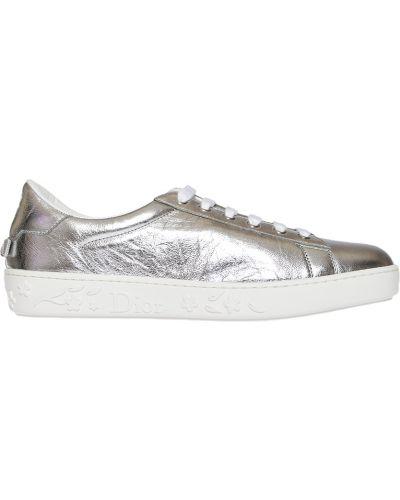 Кожаные кеды - серебряные Christian Dior