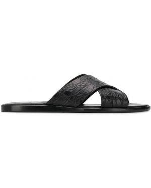 Sandały skórzane - czarne Brioni