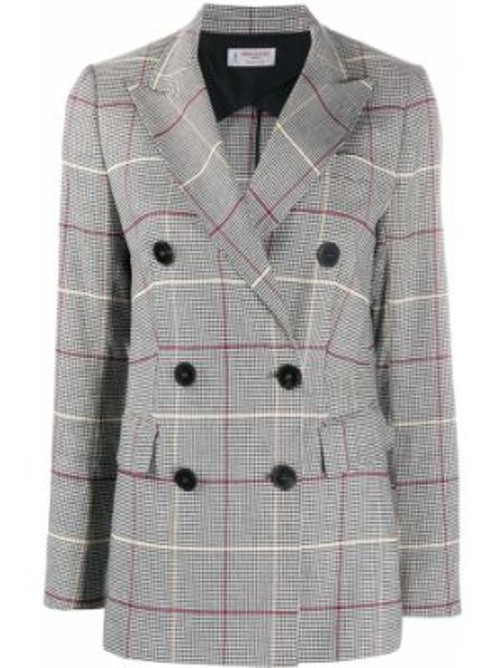 Льняной черный удлиненный пиджак двубортный Alberto Biani