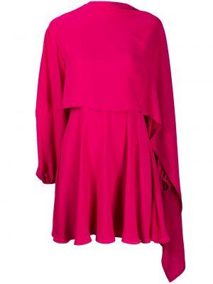 Шелковое розовое платье с воротником Valentino