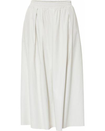 Бежевая кожаная юбка на резинке Bonprix