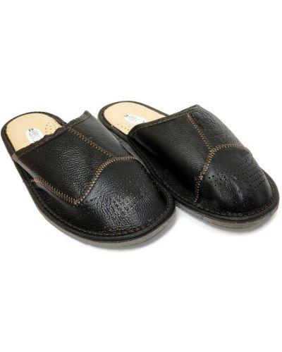 Кожаные тапочки - черные Luckline