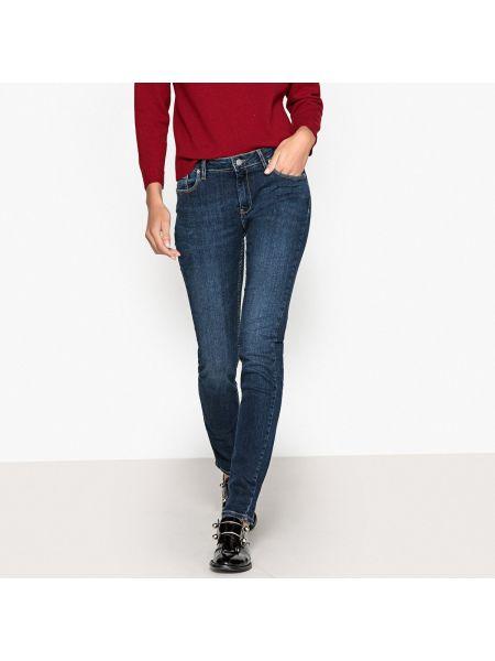 Синие джинсы-скинни с карманами с пайетками на пуговицах Reiko