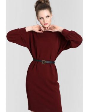 Прямое бордовое платье с вырезом круглое Ostin