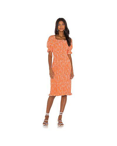 С рукавами оранжевое шелковое платье миди с манжетами Faithfull The Brand