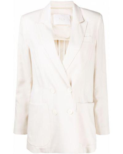 Белый удлиненный пиджак двубортный с карманами Tela