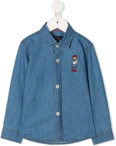 Синяя джинсовая рубашка на пуговицах с вышивкой с воротником Harmont & Blaine Junior