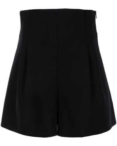 Шерстяные черные с завышенной талией шорты Carolina Herrera