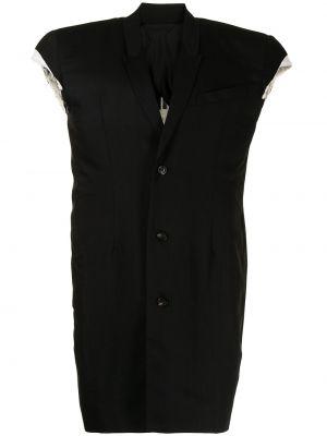 Czarna kurtka wełniana bez rękawów Rick Owens