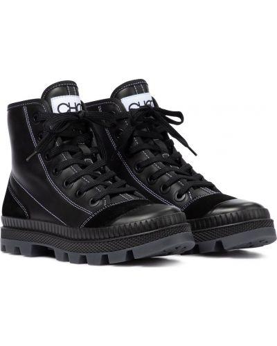 Кожаные черные кроссовки Jimmy Choo