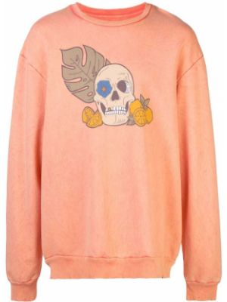 Pomarańczowa bluza bawełniana z printem Alchemist
