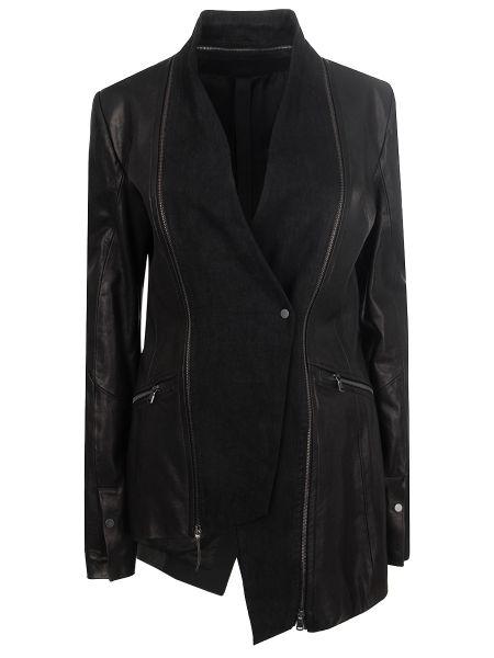 Кожаная куртка на молнии - черная Ilaria Nistri