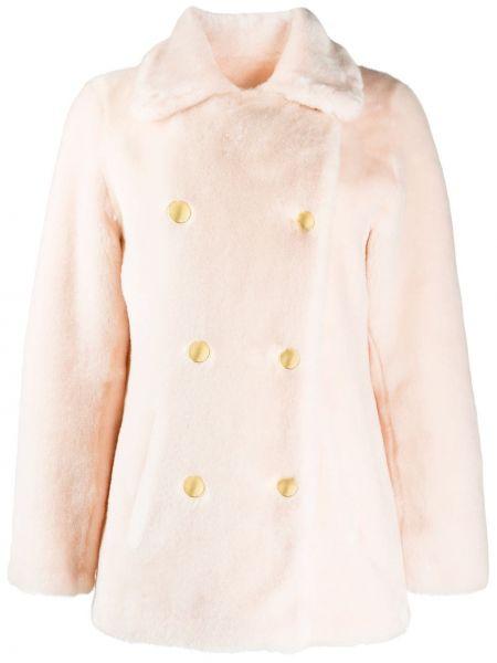 Акриловое розовое пальто с воротником двубортное La Seine & Moi
