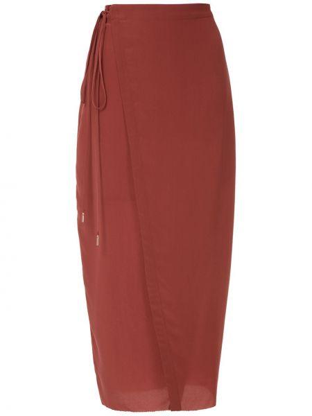 Красная шелковая с завышенной талией юбка миди с запахом Osklen