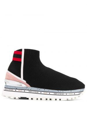 Кожаные кроссовки высокие текстильные Liu Jo