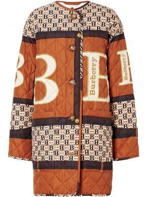 Прямое коричневое длинное пальто с капюшоном Burberry