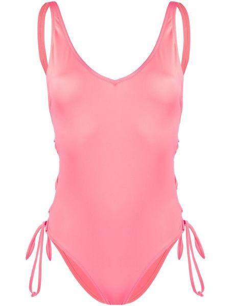 Плюшевый розовый слитный купальник на шнуровке с разрезом Sian Swimwear