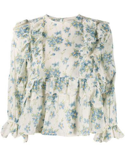 С рукавами блузка с оборками с вырезом The Great.