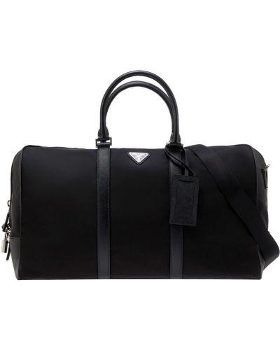 Дорожная сумка кожаная текстильная Prada