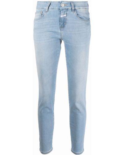 Хлопковые синие зауженные джинсы на пуговицах Closed