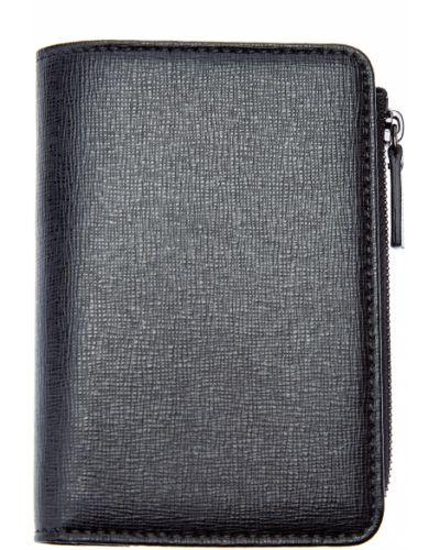 Черный кожаный кошелек для монет на молнии Canali