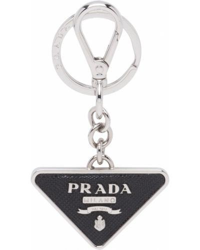 Черный кожаный брелок с декоративной отделкой Prada