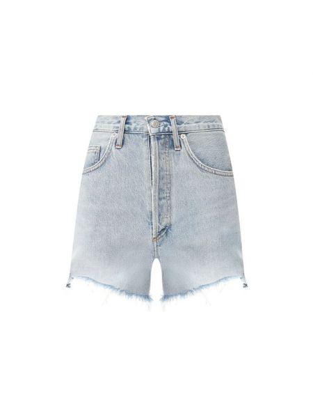 Джинсовые шорты с бахромой футбольные Agolde