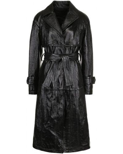 Кожаное пальто с поясом с карманами Drome