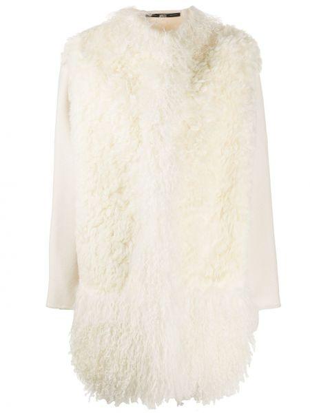 С рукавами белое шерстяное пальто с мехом с мехом Gianfranco Ferre Pre-owned