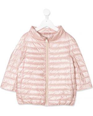 Пуховая розовая длинная куртка Herno
