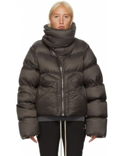 Шерстяное стеганое длинное пальто с воротником на молнии Rick Owens
