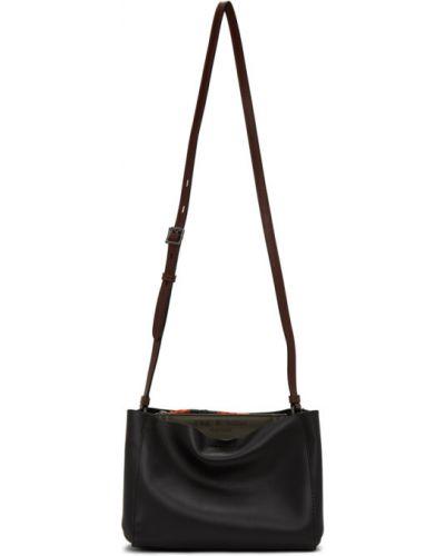 Czarny torba kosmetyczna z prawdziwej skóry z łatami wytłoczony Rag & Bone