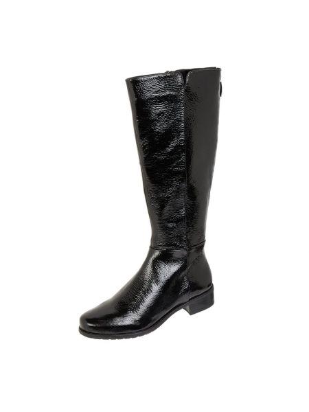 Czarny skórzany kozaki prążkowany na pięcie Gerry Weber Shoes