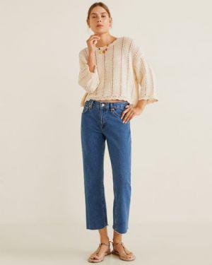 Прямые джинсы укороченные синие Mango