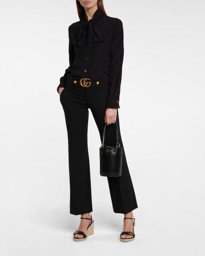 Jedwab czarny bluzka zabytkowe Gucci